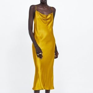 Mustard yellow satin dress
